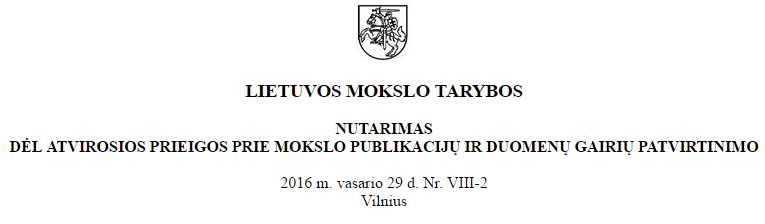 Guidelines for Open Access to Research Results by Research Council of Lithuania
